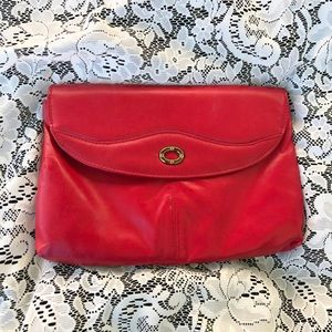 Vintage Bright Red Convertible Clutch